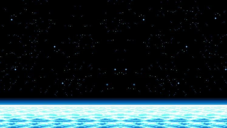 space, Pixel Art, Horizon, Stars HD Wallpaper Desktop Background