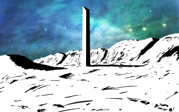 space, Nebula, Colorful, Drawing, Building, Apocalyptic, White, Monolith HD Wallpaper Desktop Background