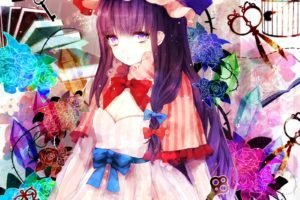 Patchouli Knowledge, Touhou, Anime, Anime girls, Flowers, Keys, Cages, Crystal, Birds