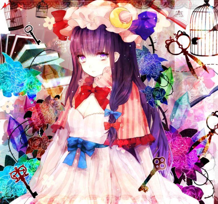 Patchouli Knowledge, Touhou, Anime, Anime girls, Flowers, Keys, Cages, Crystal, Birds HD Wallpaper Desktop Background