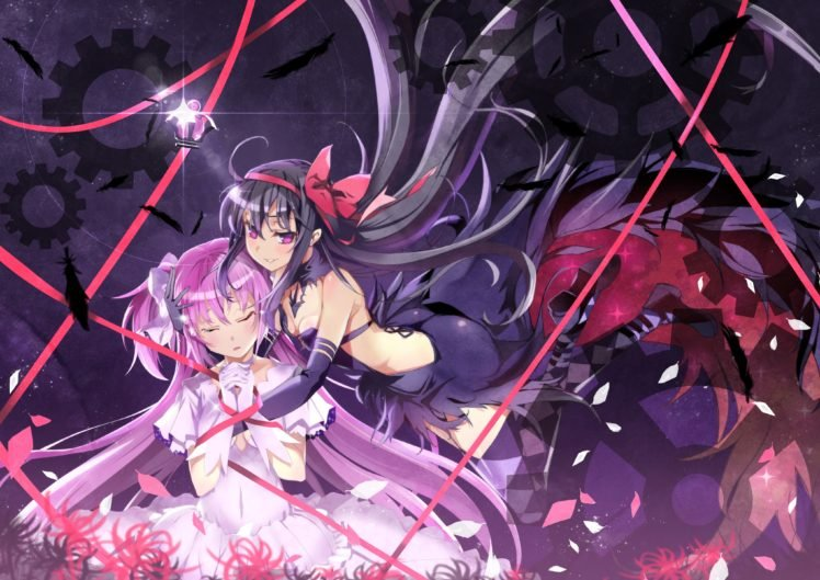 Akemi Homura, Mahou Shoujo Madoka Magica, Kaname Madoka, Anime, Anime girls HD Wallpaper Desktop Background