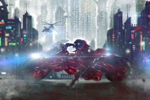 Akira, Motorcycle, Cityscape