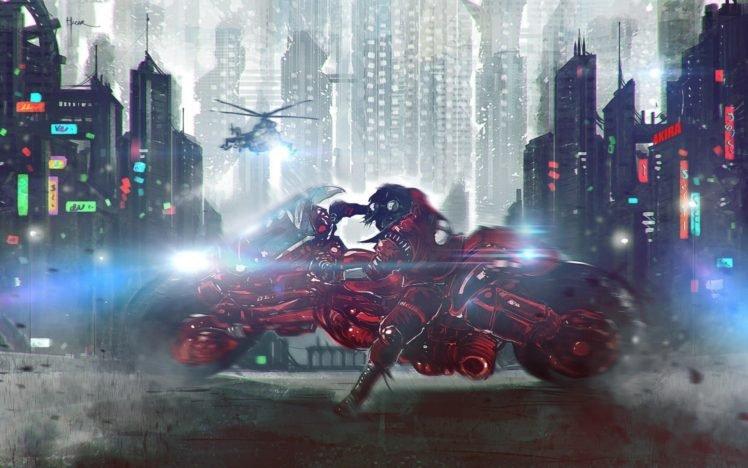 Akira, Motorcycle, Cityscape HD Wallpaper Desktop Background