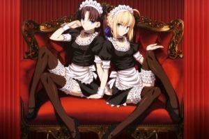 Fate Stay Night, Anime, Brunette, Blonde, Stockings, Women, Tohsaka Rin, Saber, Fate Series