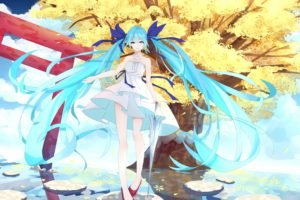 Vocaloid, Hatsune Miku, Water, Sky, Clouds, Trees