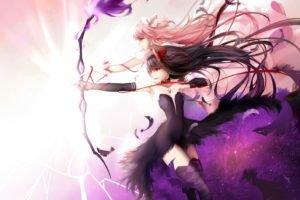 Mahou Shoujo Madoka Magica, Kaname Madoka, Akemi Homura, Anime, Anime girls, Feathers, Archers, Bows