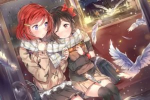 birds, Anime, Anime girls, Snow, Snow flakes, Feathers, Love Live!, Yazawa Nico, Nishikino Maki