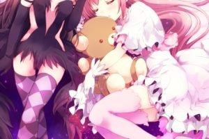 Mahou Shoujo Madoka Magica, Kaname Madoka, Akemi Homura, Anime, Anime girls, Teddy bears