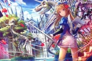 wings, Original characters, Water, Sky, Clouds, Petals, Dinosaurs, Anime, Anime girls, Trees