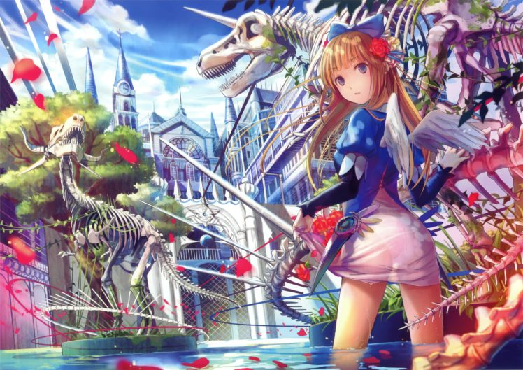 wings, Original characters, Water, Sky, Clouds, Petals, Dinosaurs, Anime, Anime girls, Trees HD Wallpaper Desktop Background