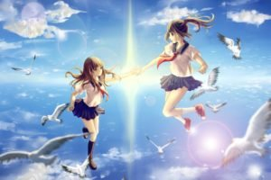 anime girls, School uniform, Original characters, Flying, Birds