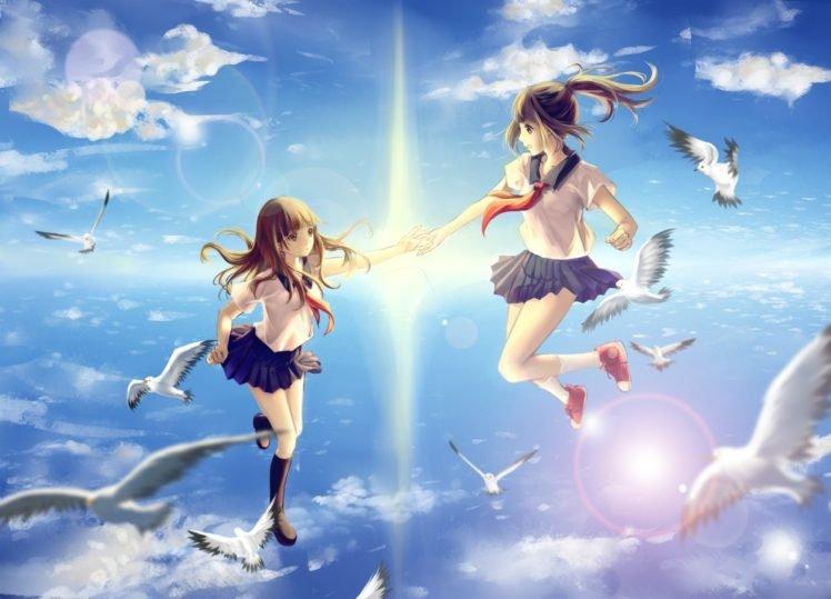 anime girls, School uniform, Original characters, Flying, Birds HD Wallpaper Desktop Background