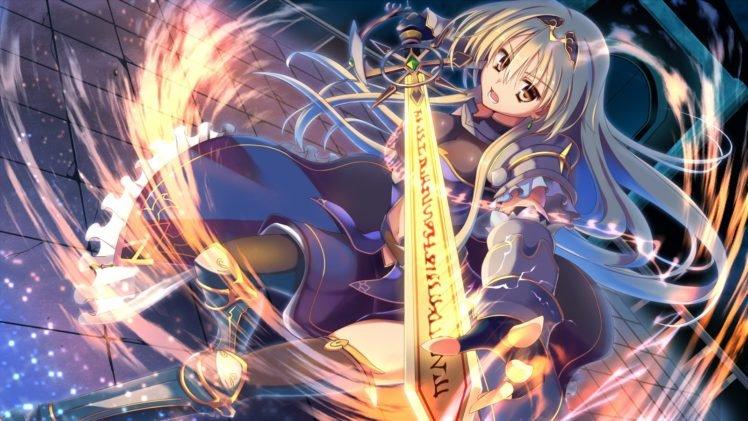 sword, Anime girls, Original characters, Blonde HD Wallpaper Desktop Background