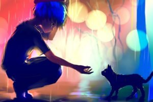 artwork, Fantasy art, Digital art, Rain, Cat, Colorful