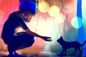 artwork, Fantasy art, Digital art, Rain, Cat, Colorful