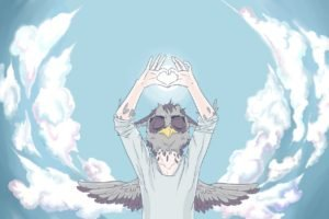 sky, Clouds, Owl, Anthros, Hearts
