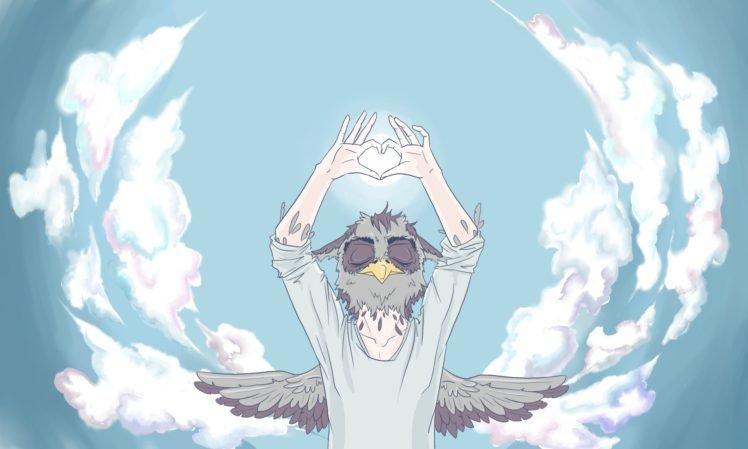 sky, Clouds, Owl, Anthros, Hearts HD Wallpaper Desktop Background