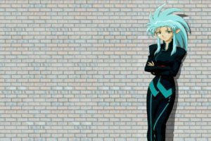 anime, Anime girls, Turquoise hair, Simple background, Tenchi Muyo!, Ryoko Hakubi