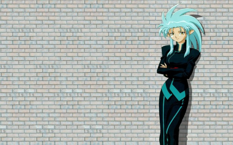 anime, Anime girls, Turquoise hair, Simple background, Tenchi Muyo!, Ryoko Hakubi HD Wallpaper Desktop Background