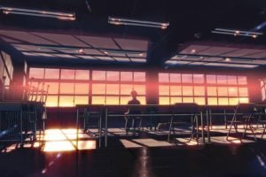 classroom, Anime, 5 Centimeters Per Second, Sunset, Sunlight, Desk, Alone, Makoto Shinkai