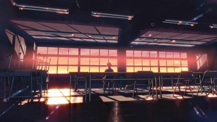 classroom, Anime, 5 Centimeters Per Second, Sunset, Sunlight, Desk, Alone, Makoto Shinkai HD Wallpaper Desktop Background