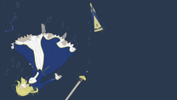 Fate Zero, Saber, Blue, Excalibur, Fate Series HD Wallpaper Desktop Background