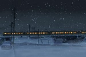 digital art, Anime, Night, Power lines, Train, Snow, Winter, 5 Centimeters Per Second, Utility pole