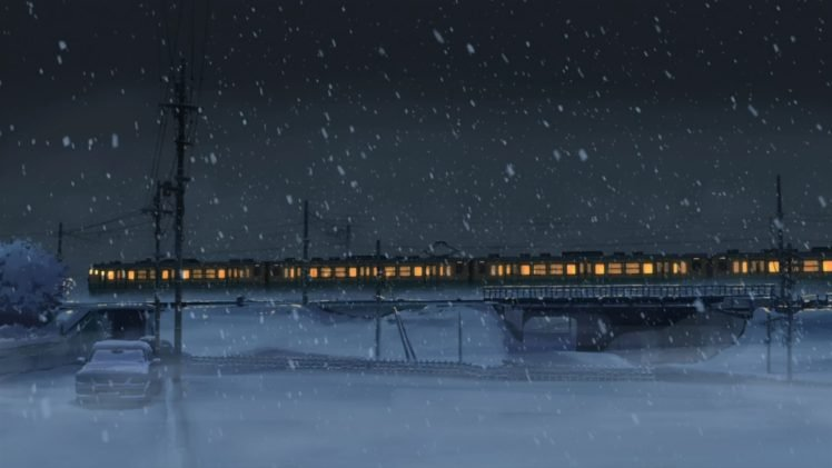 digital art, Anime, Night, Power lines, Train, Snow, Winter, 5 Centimeters Per Second, Utility pole HD Wallpaper Desktop Background