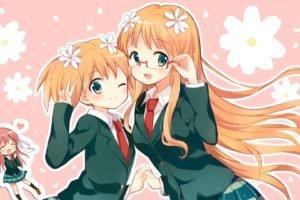 anime, Anime girls, Sakura Trick, Sonoda Yuu, School uniform, Takayama Haruka, Sonoda Mitsuki, Schoolgirls