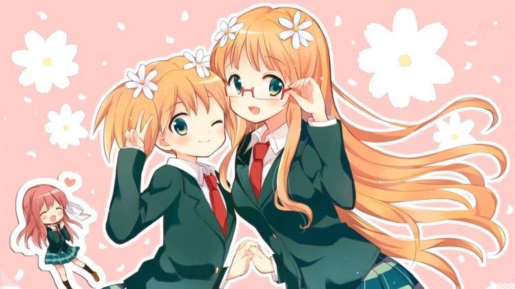 anime, Anime girls, Sakura Trick, Sonoda Yuu, School uniform, Takayama Haruka, Sonoda Mitsuki, Schoolgirls HD Wallpaper Desktop Background