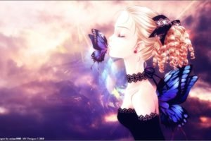 anime girls, Anime, Original characters, Closed eyes, Butterfly