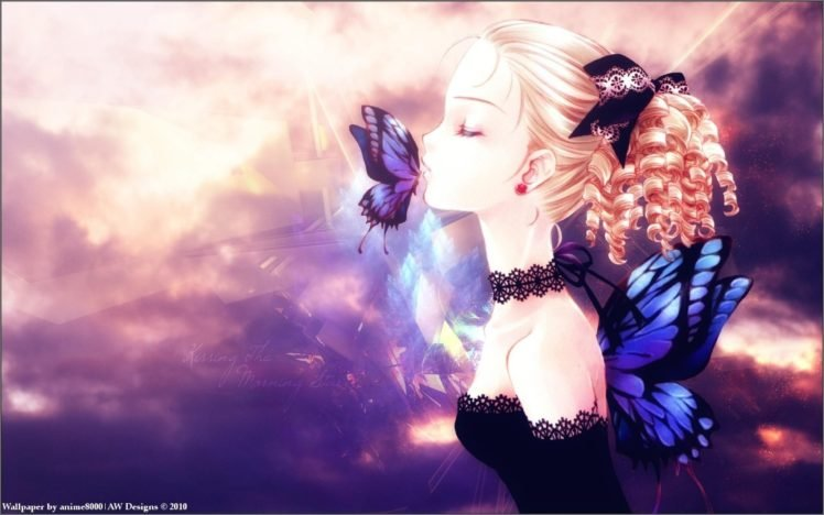 Anime Girls Original Characters Closed Eyes Butterfly HD Wallpaper Desktop Background