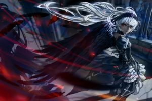 artwork, Fantasy art, Wings, White hair, Rozen Maiden, Suigintou