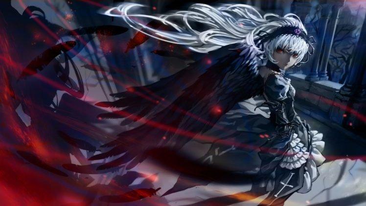 artwork, Fantasy art, Wings, White hair, Rozen Maiden, Suigintou HD Wallpaper Desktop Background