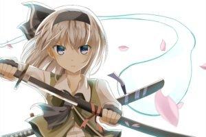 Konpaku Youmu, Touhou, Sword, Katana, Anime girls, Silver hair