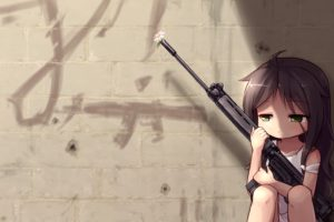 original characters, Brunette, Green eyes, Anime girls, Gun, Weapon