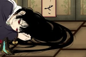 anime girls, Enma Ai, Jigoku Shoujo, Red eyes