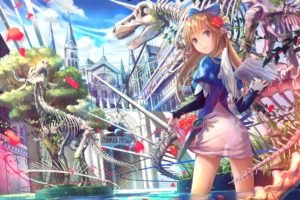 anime, Artwork, Anime girls, Wings, Original characters