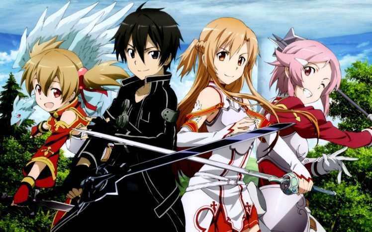Sword Art Online, Yuuki Asuna, Kirigaya Kazuto, Ayano Keiko, Shinozaki Rika HD Wallpaper Desktop Background