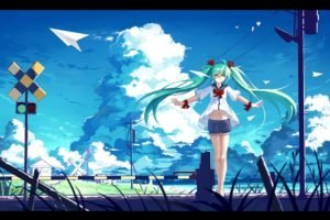 Vocaloid, Hatsune Miku, Anime girls, Twintails, Clouds, Paperplanes