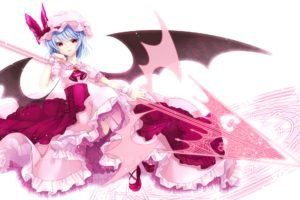 Touhou, Anime girls, Remilia Scarlet, Wings, Silver hair, Red eyes