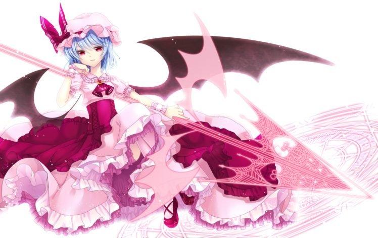 Touhou, Anime girls, Remilia Scarlet, Wings, Silver hair, Red eyes HD Wallpaper Desktop Background