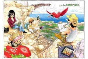 One Piece, Usopp, Nico Robin, Tony Tony Chopper, Monkey D. Luffy, Flowers, Roronoa Zoro