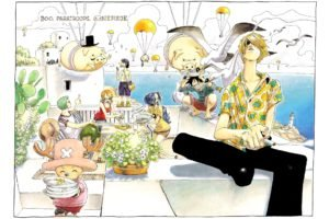 One Piece, Monkey D. Luffy, Nami, Sanji, Tony Tony Chopper, Roronoa Zoro, Usopp, Pigs, Parachutes, Nefertari Vivi, Lighthouse
