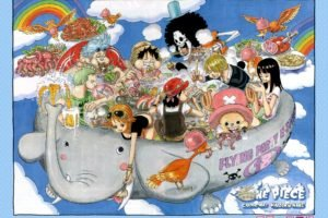 One Piece, Nami, Nico Robin, Tony Tony Chopper, Franky, Brook, Roronoa Zoro, Monkey D. Luffy, Sanji, Clouds, Elephants