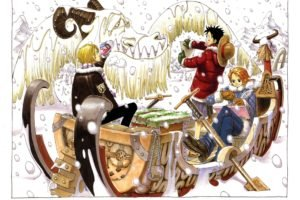 One Piece, Monkey D. Luffy, Nami, Sanji, Snow