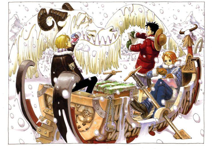 One Piece, Monkey D. Luffy, Nami, Sanji, Snow HD Wallpaper Desktop Background