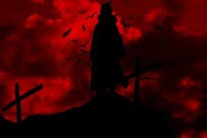 silhouette, Uchiha Itachi, Red, Raven, Cross