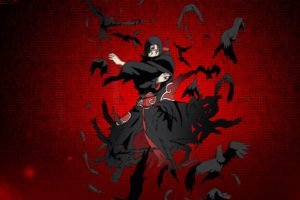 Uchiha Itachi, Raven, Red background, Akatsuki, Anime boys