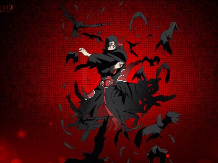 Uchiha Itachi Raven Red Background Akatsuki Anime Boys
